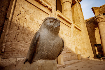 God Horus at the temple of Edfu in Egypt