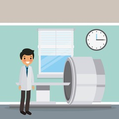 doctor in coat with scan machine diagnosis clock and window scene