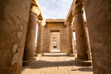 The outside columns of Kom Ombo Temple in Aswan constructed during the Ptolemaic dynasty