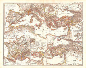 1865, Spruner Map of the Mediterranean from Pompey to the Battle of Actium