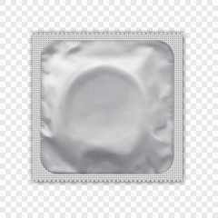 White  foil wrapped condom realistic vector packadge mock up. Realistic foil package for condom. White background.