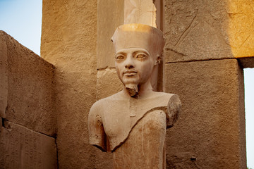 Pharaoh statue inside the ancient temple of Karnak in Luxor Egypt
