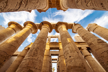 The great columns at the Karnak Temple in Luxor Thebes Egypt