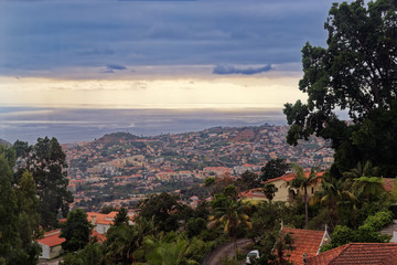 Aerial view over Funchal city on Portuguese island of Madeira