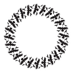 Round frame with birds silhouette