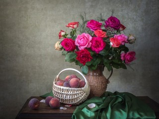 Still life with bouquet of garden roses