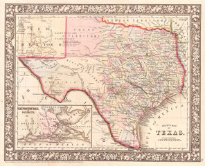 1866, Mitchell Map of Texas