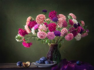 Still life with bouquet of aster flowers