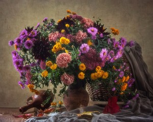 Still life with bouquet of autumn flowers