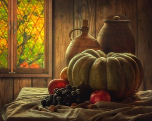 Still life with fruits and pumpkin
