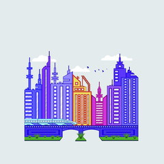 City landscape with bridge and train in flat style for decoration design. Graphic vector illustration. Modern poster with city landscape.