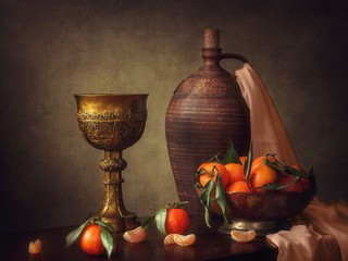 Still life with a jug and tangerines