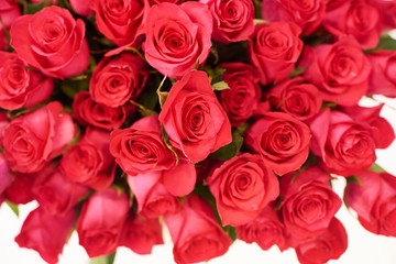 flower shop concept. Close-up beautiful lovely bouquet of red roses