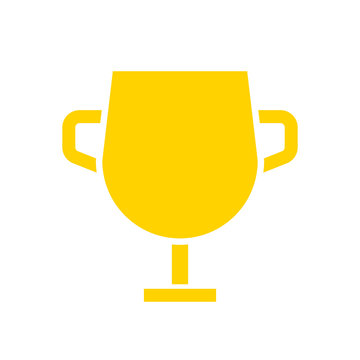 Gold cup trophy glyph icon. Clipart image isolated on white background