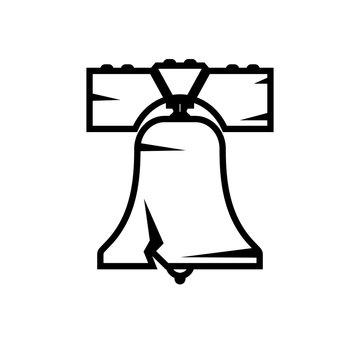 Liberty bell outline icon. Clipart image isolated on white background