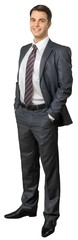 Portrait of young businessman in black suit isolated on white