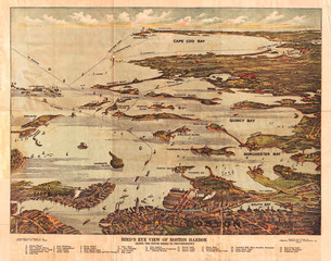 1899, View Map of Boston Harbor from Boston to Cape Cod and Provincetown