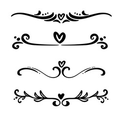 Vector vintage line elegant dividers and separators, swirls and corners decorative heart ornaments. Floral lines filigree design elements. Flourish curl page illustration