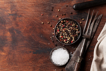 Spices for meat. Salt and pepper