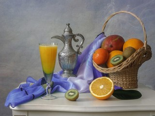Still life with fruits and juice