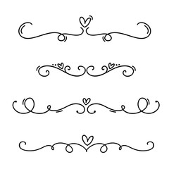 Vector vintage line elegant valentine dividers and separators, swirls and corners ornaments. Floral lines filigree design heart elements. Flourish curl for invitation or menu page illustration