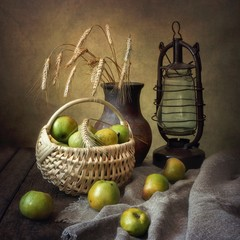 Still life with green apples