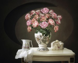 Still life with basket of pink roses