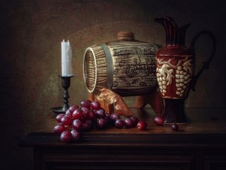 Still life with red grapes