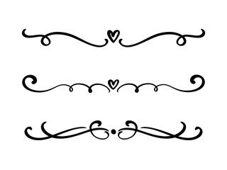Vector vintage line elegant valentine dividers and separators, swirls and corners decorative ornaments. Floral lines filigree design heart elements. Flourish curl