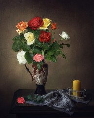 Still life with bouquet of summer roses