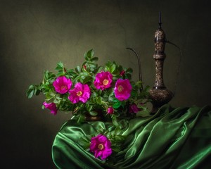 Still life with bouquet of shrub roses