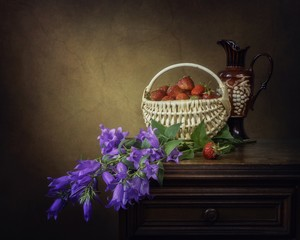 Still life with bouquet of garden bluebell flowers