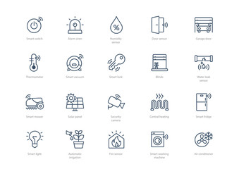 Obraz Set of stroke smart home icons isolated on light background. Contains such icons Smart lock, Thermometer, Garage door, Air conditioner, Smart vacuum cleaner and more. - fototapety do salonu