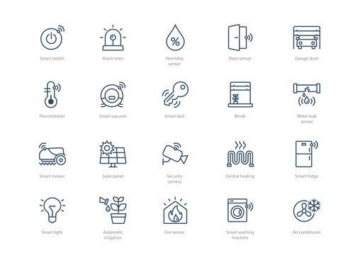 Set of stroke smart home icons isolated on light background. Contains such icons Smart lock, Thermometer, Garage door, Air conditioner, Smart vacuum cleaner and more.