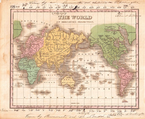 1827, Finley Map of the World on Mercator's Projection, Anthony Finley mapmaker of the United States in the 19th century