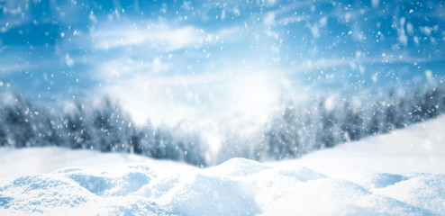 Winter background of snow and free space for your decoration  Fototapete