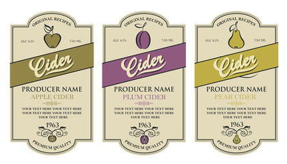 collection of labels for various cider types