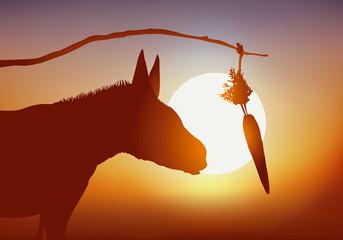 Concept de la manipulation et de récompense inatteignable avec un âne que l'on incite à avancer avec une carotte