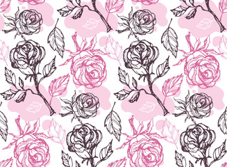 Hand drawn doodle rose pattern background