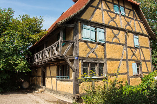 Mulhouse France 10-15-2018. Old traditional  timbered house in the Eco Museum of Alsace  near Mulhouse in France