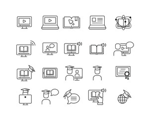Simple Set of Online Education  Related Vector Line Icons. Contains such Icons as e-bookl, audio book , teacher and more.