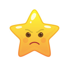 Angry star shaped comic emoticon. Enraged face with facial expression. Frenzied emoji symbol for internet chatting. Funny social communication animated character. Mood message isolated vector element