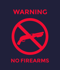no guns sign with shotgun, no firearms poster
