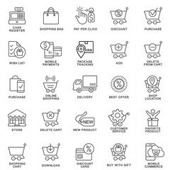 Icons for the site of the online store. The thin contour lines.