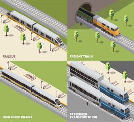 Train Railway Isometric Concept