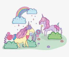 cute unicorns with flowers and rainbow with clouds