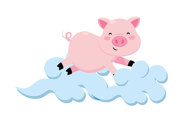 pig with clouds