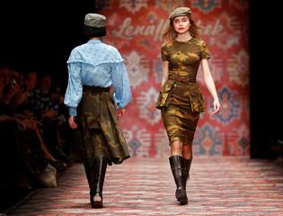 Models present creations by Lena Hoschek during the Berlin Fashion Week Autumn/Winter 2019/20 in Berlin