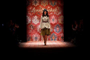 A model presents a creation by Lena Hoschek during the Berlin Fashion Week Autumn/Winter 2019/20 in Berlin