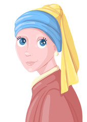 The girl with the pearl earring. illustration.
